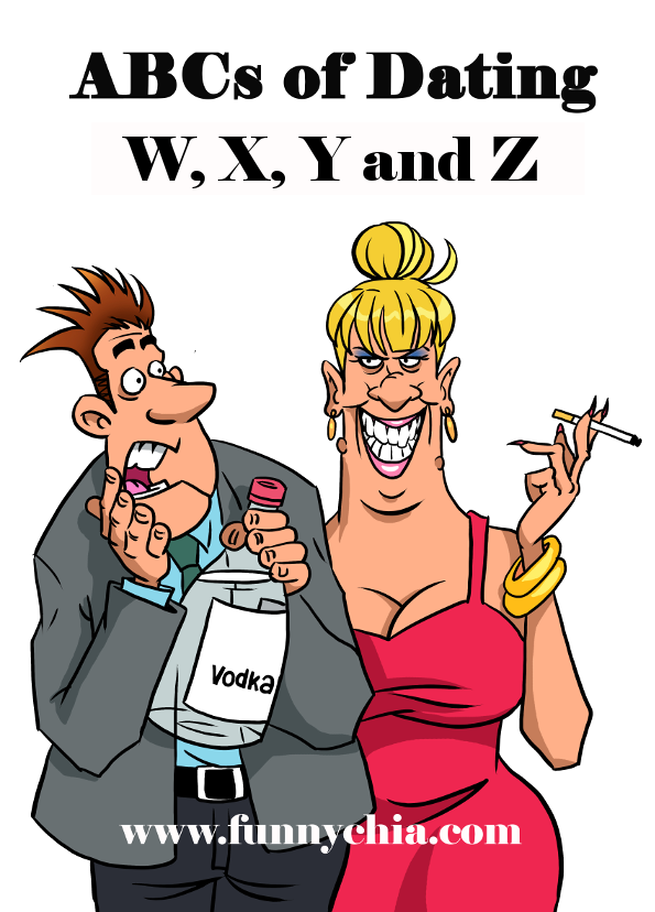 Humorous cartoon of a dating couple